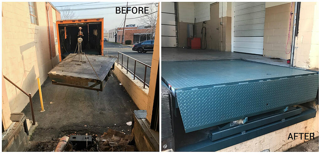10 supertips to prevent your loading dock problem loading dock, inc. dock leveler service for Before and after at Eagle Nutritional Carlstadt.jpg