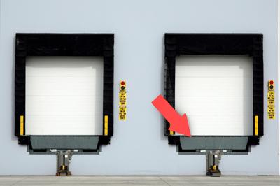 Loading Dock Bay with Dock Leveler, Dock Bumpers and Dock Door