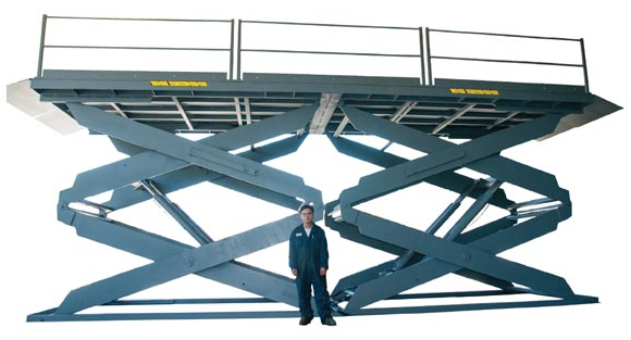 Tandem Double Scissor Lift Table shown partly elevated