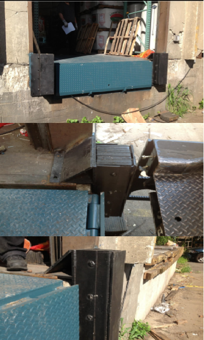 Before and After pictures of raised bumper application. Raised bumpers solution on low dock height