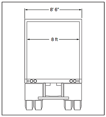 Design the Loading Dock: Determine Door Sizes, 9 feet wide doors should be used to service 8 feet 6 inches wide trailers