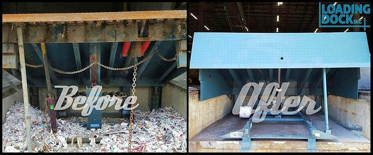 specifying the correct loading dock leveler for your facility dock leveler, before and after pic