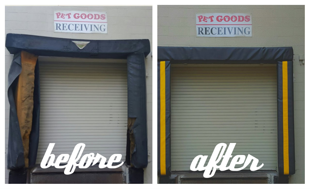 top 2 sealing systems for overhead loading dock doors & gates,  loading dock inc pet goods recieving area dock seal service by loading dock, inc. before and after service photos