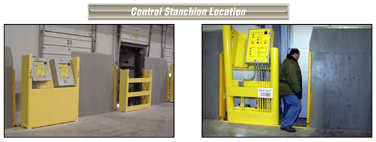 vertical storage leveler installation for cold storage facilities Control Stanchion Location.png
