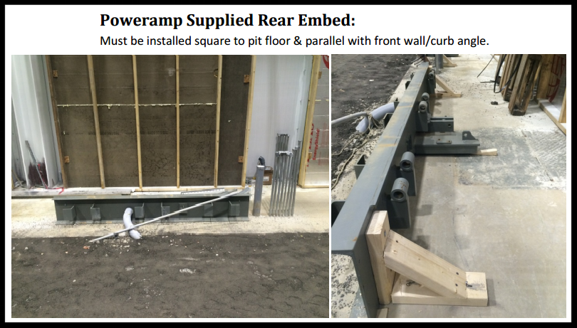 vertical storage leveler installation for cold storage facilities Installation; Poweramp supplied rear embed.