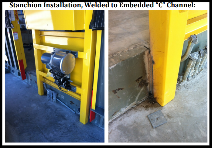 vertical storage leveler installation for cold storage facilities Installation; Stanchion Installation.