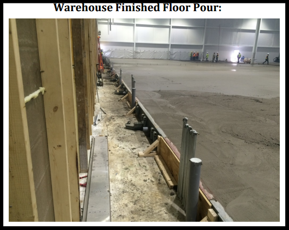 vertical storage leveler installation for cold storage facilities Installation; Warehouse Finished Floor pour.