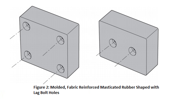 Dock Bumper, Figure 2: Molded, Fabric Reinforced Masticated Rubber Shaped with Lag Bolt Holes