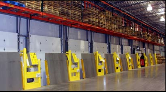 vertical storage leveler installation for cold storage facilities; Poweramp VS Series in vertical position.